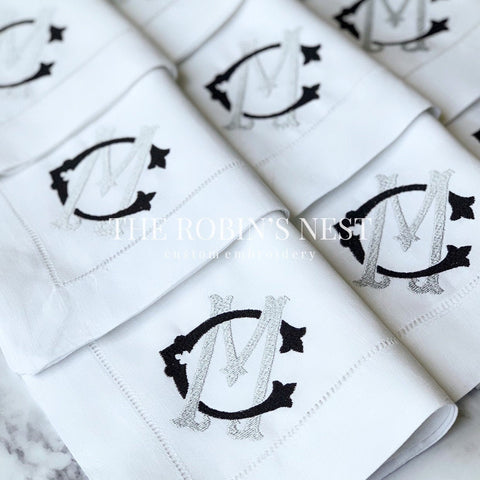 Custom Double Monogrammed Linen Dinner Napkins Embroidered | Wedding Linen Dinner Napkins | Custom Embroidery