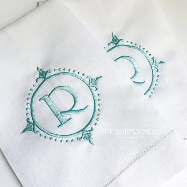 Linen Hemstitched Guest Towels Embroidered