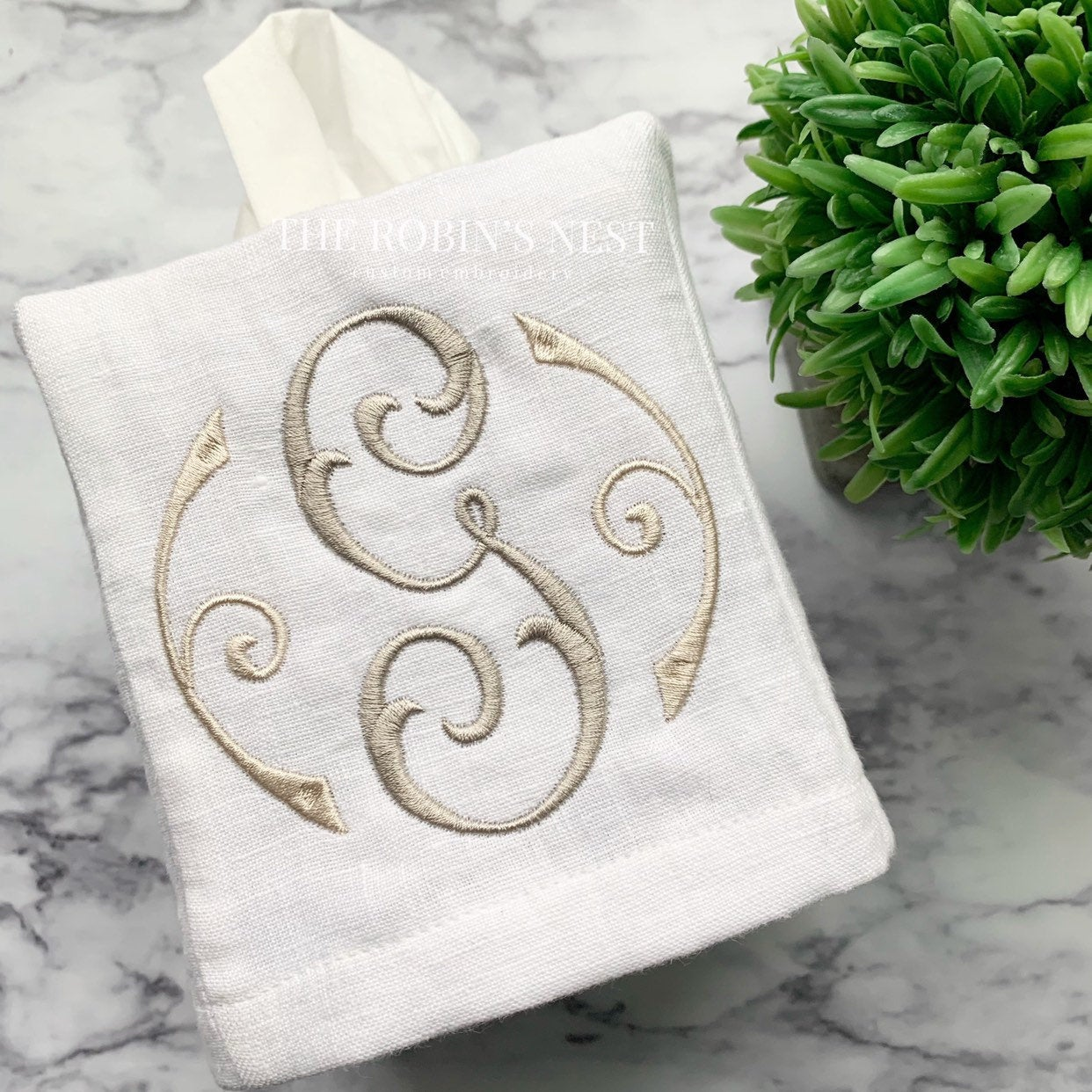 Monogrammed Linen Tissue Box Cover Embroidered