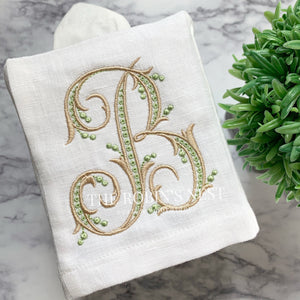 Monogrammed linen square tissue cover embroidered