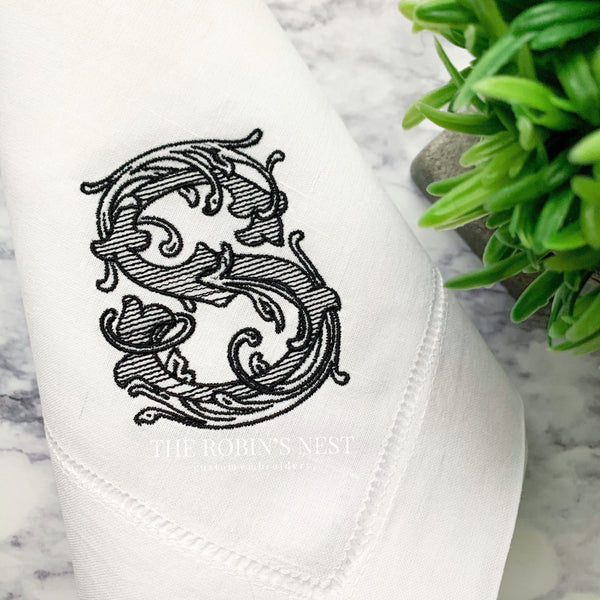 Monogrammed Linen Dinner Napkins Embroidered | Wedding Napkins | Custom Embroidery