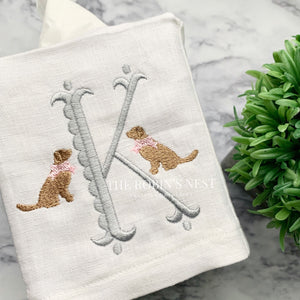 Monogrammed Linen Tissue Cover Golden Retriever Dog with Bow Embroidered