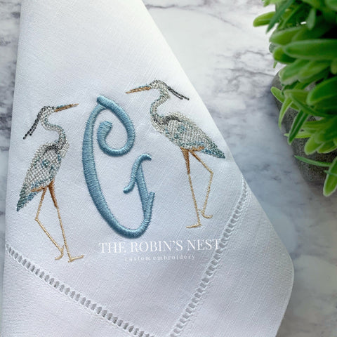 Blue heron embroidered monogrammed linen dinner napkins | Egret linen dinner napkins