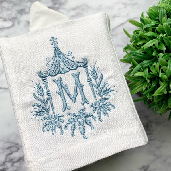 Monogrammed linen tissue cover pagoda embroidered chinoiserie chic