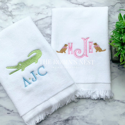 Monogrammed Fingertip Towels | Boy Monogrammed Towel | Girl Monogrammed Towel