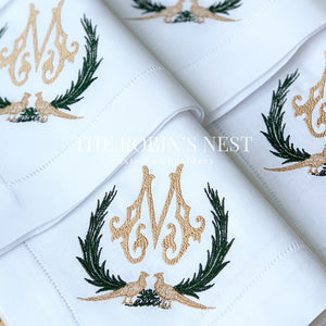 Custom Embroidered Pheasants Linen Dinner Napkins Monogrammed | Embroidered Dinner Napkins