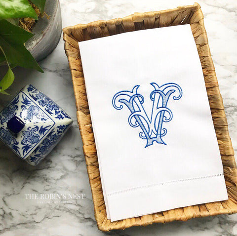 Double Monogram Intertwined Linen Guest Towel