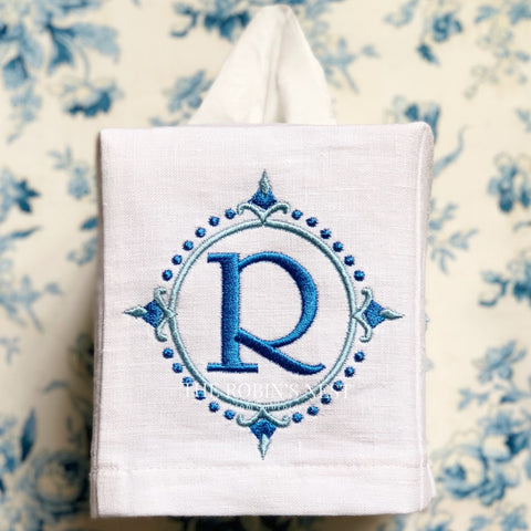 Monogrammed Linen Tissue Box Square Embroidered Fingertip Towels