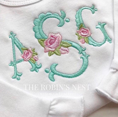 Ruffle Bib and Burp Cloth Heirloom Monogrammed Embroidery Baby Girl