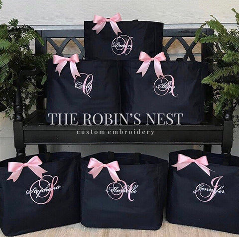 Monogrammed Bridal Party Tote Bags Embroidered | Bridesmaids gifts