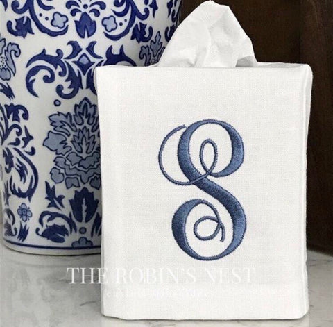 Monogrammed Fingertip Towels and Linen Tissue Cover Embroidered