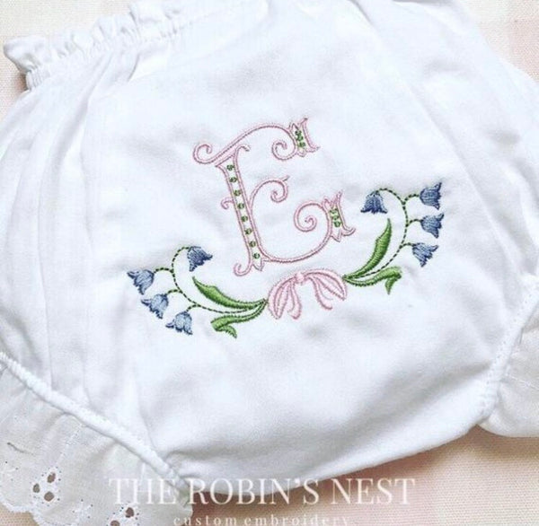 Baby Girl Blue Bell Ruffle Gown, Bloomers, Diaper Cover, Bib & Burp Cloth Embroidered Monogrammed