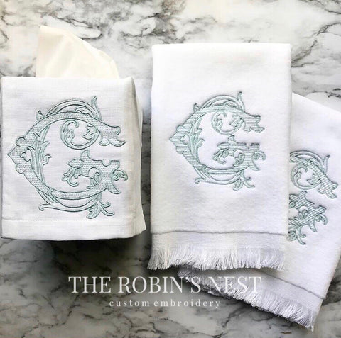 Antique Monogrammed Fingertip Towels and Monogrammed Linen Tissue Cover