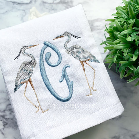 Heron embroidered linen tissue cover monogrammed