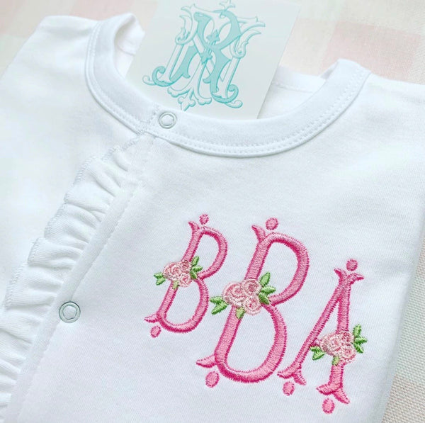 Infant Ruffle Footed Sleeper Monogrammed Baby Girl