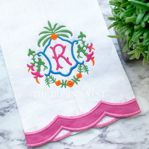 Monogrammed Linen Guest Towel Scalloped Appliqué