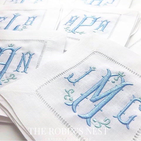 Monogrammed Linen Hemstitched Cocktail Napkins