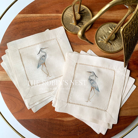 Great Blue Heron Linen Hemstitched Cocktail Napkins