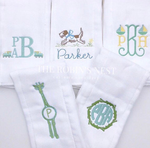 Burp Cloths Baby Boy Monogrammed Embroidered