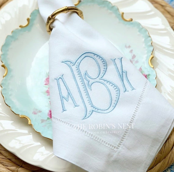 Linen Dinner Napkins Embroidered