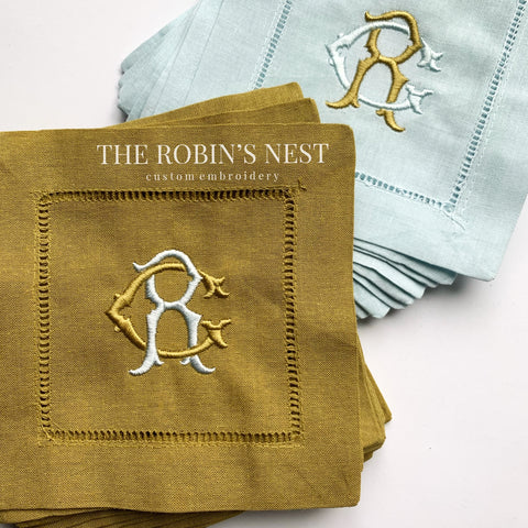 Double Monogrammed Linen Cocktail Napkins Embroidered