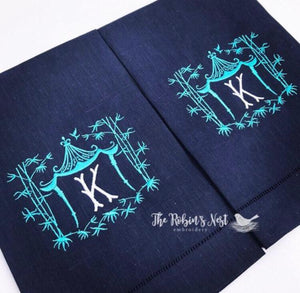 Pagoda Linen Hemstitched Navy Monogrammed Guest Towel Embroidered