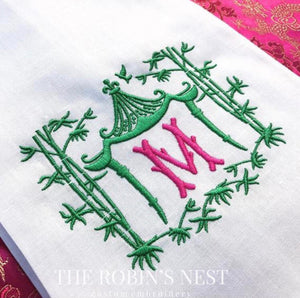 Pagoda Linen Hemstitched Monogrammed Guest Towel Embroidered