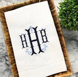 Monogrammed Linen Hemstitched Guest Towels Embroidered