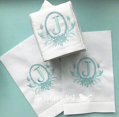 Heirloom Frame Monogrammed Linen Guest Towels Linen Tissue Box Cover