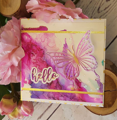 Lyla Butterfly Hello Card - Deborah Adams