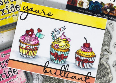 You're Brilliant Cupcake Card - Mandy Herring