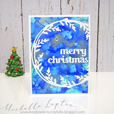 Blue Wreath Christmas Card - Michelle Lupton
