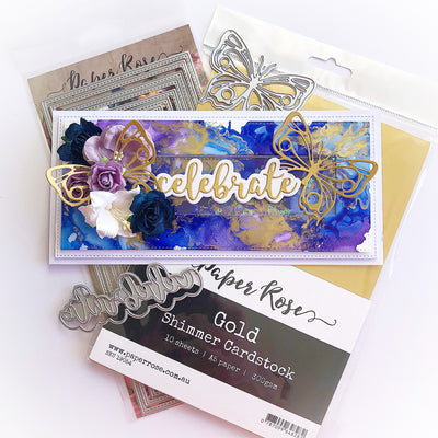Celebrate Alcohol Ink Card - Tania Ridgwell