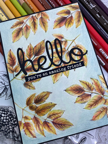 Hello Autumn Leaf Card - Mandy Herring