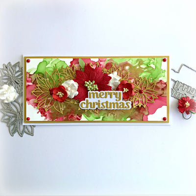 Merry Christmas Alcohol Ink Card - Tania Ridgwell