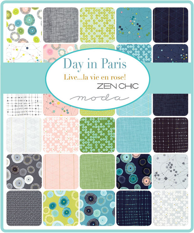 Day in Paris by Zen Chic Diamonds Metallic Chalk - Moda Fabrics