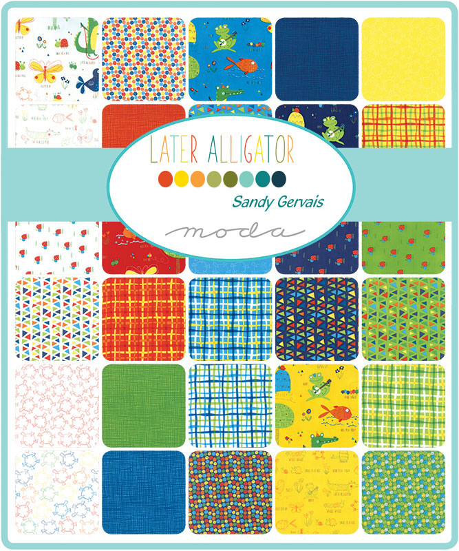 Later Alligator by Sandy Gervais Sketched Buddies Cloud - Moda Fabrics
