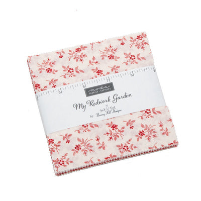 My Redwork Garden by Bunny Hill Designs Charm Pack - Moda Fabrics