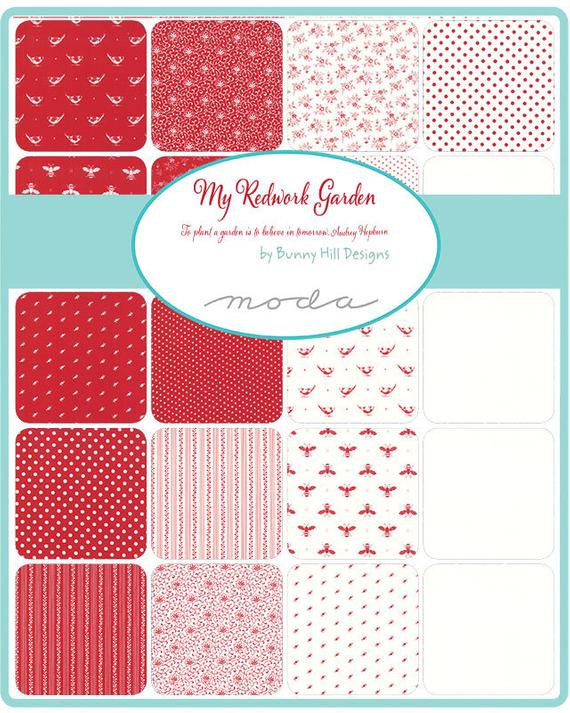My Redwork Garden by Bunny Hill Designs Layer Cake- Moda Fabrics
