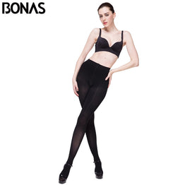 BONAS 120D Opaque Tights Women Autumn Sexy Velvet Solid Color Pantyhose Women Slim Warm Tights Female Elasticity Spandex Black