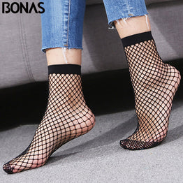 BONAS 2pcs Women's Black Fishnet Socks Breathable Mesh Lace Fish Net Short Socks Harajuku Sexy Hollow Nets Socks Ladies Sweet