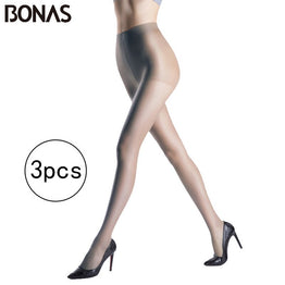 BONAS 3pcs/lot Cheap Seamless Tights Women 15D Summer Fashion Nylon High Elasticity Lady Spandex Pantyhose Female Soft Tights