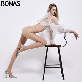 BONAS 40D Sexy Breathable Tights Women High Waist Panty Pantyhose Sexy Tights Nylon Stretchy Slim Thin Stockings Female Collant