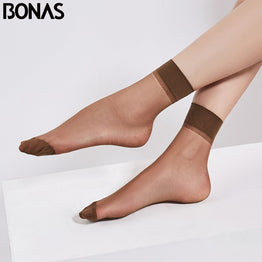 BONAS 5pcs/lot 20cm Women's Short Socks Summer High Elastic Ankle Sheer Silk Nylon Sock Female Ultrathin Transparent Woman Socks