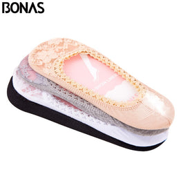 BONAS Lace Antiskid Invisible liner Slipper Socks Low Women Fashion Cotton Boat Anti-Slip Female Summer Cute Short Socks Random
