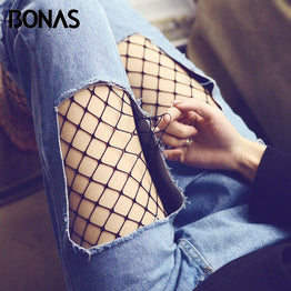 BONAS Women Fishnet Tights Sexy Club Tights Panty Mesh Net Hole Lady Pantyhose Black Nylon Breathable Hollow Female Stockings