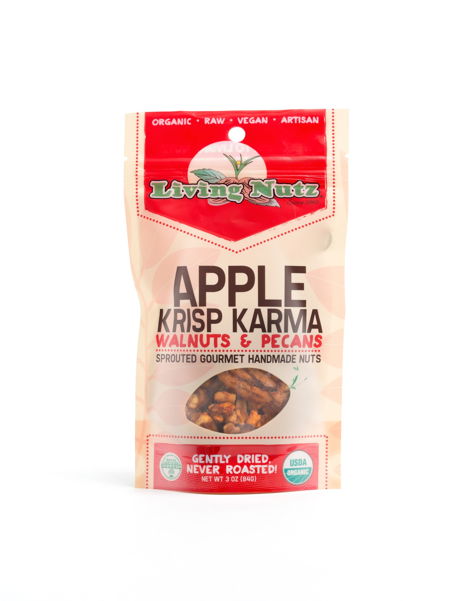 Organic raw sprouted nuts. Sprouted flavored raw walnuts with apple and spices. Organic snack