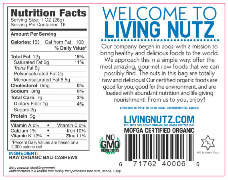 Cashews. Raw Bali cashews. organic cashews. Raw Nuts-Living Nutz