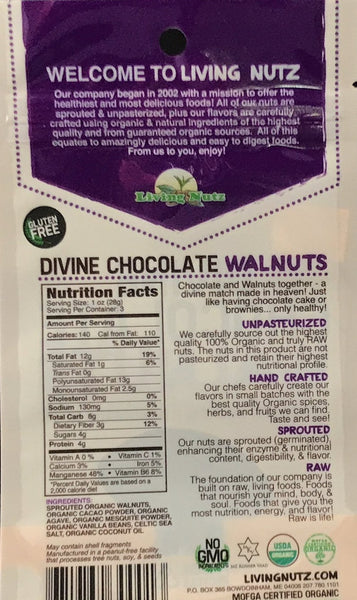 Sprouted walnuts. Chocolate flavor organic walnuts. Sprouted nuts.