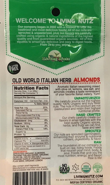 Sprouted nuts. organic & unpasteurized almonds with Italian herb. Living Nutz.